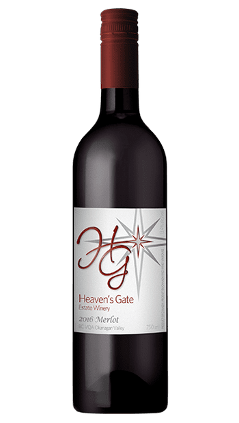 bottle of deep red Heaven's Gate Winery 2016 Merlot with burgundy label, great with vegetarian dishes