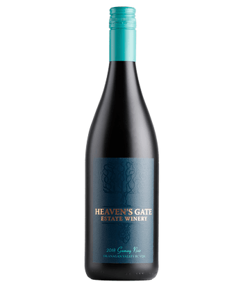 Bottle of Heaven's Gate Winery Gamay Noir with turquoise and navy label