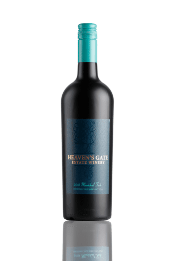 bottle of Heaven's Gate Winery 2018 Maréchal Fochred wine with teal cap, great for pairing with honey ham
