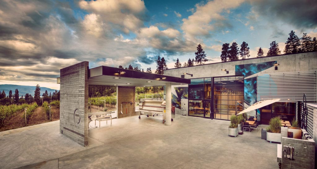 View of Okanagan Crush Pad winery, one of the Bottleneck Drive and Summerland wineries