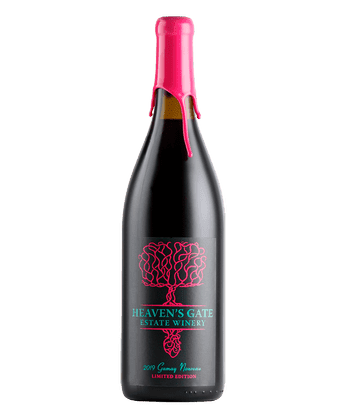 Bottle of Heaven's Gate Winery Gamay Noir with bright pink wax seal and label
