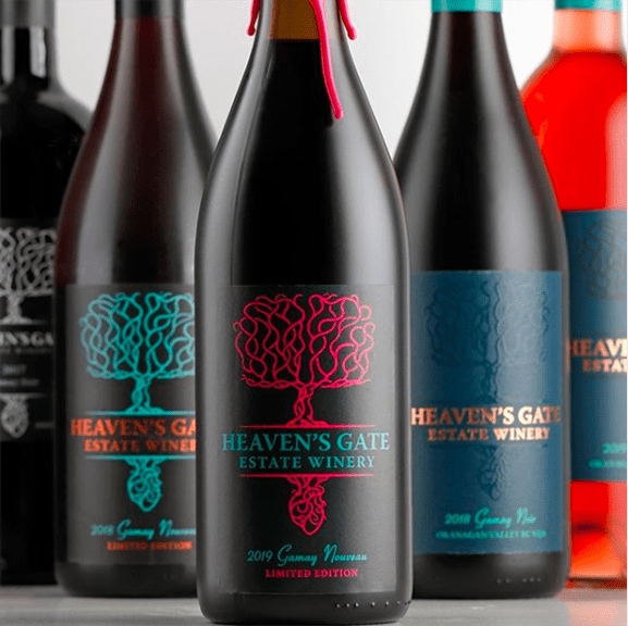 Closeup of Heaven's Gate Winery's Gamay collection, with bottles including Gamay Noir and Gamay Nouveau